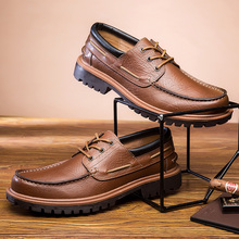 Large Size Luxury Brand Leather Boat Shoes British Style Handmade Fashion Casual Flats  4#15/15F50