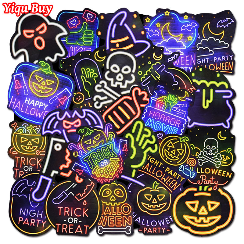 25 Pcs Funny Neon Halloween Stickers For Motorcycle Skateboard Suitcase Guitar Bicycle Bumper Cool  Waterproof Graffiti  Sticker