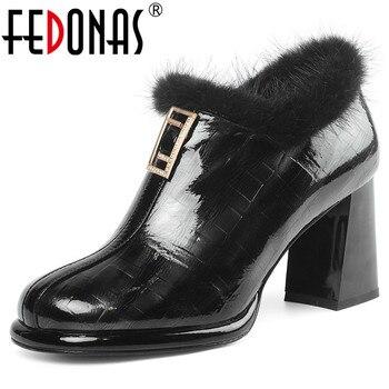 FEDONAS Euro Style Women Plus Size Pumps Warm High Heels Office Party Shoes Woman Winter Zipper Elegant Genuine Leather Shoes
