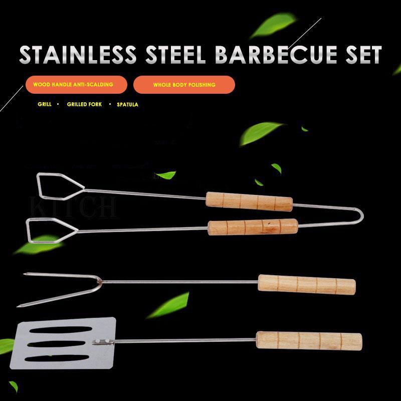Forte Cuocere Pennello Arrosto Forcella Barbecue Strumenti Barbecue Kit Picnic All'aperto Pala D'argento in Metallo Accessori per Barbecue Cottura
