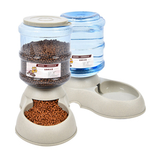 Automatic Feeder Pet-Bowl Food-Water-Dispenser Large-Capacity Drinker Puppy Cat Plastic