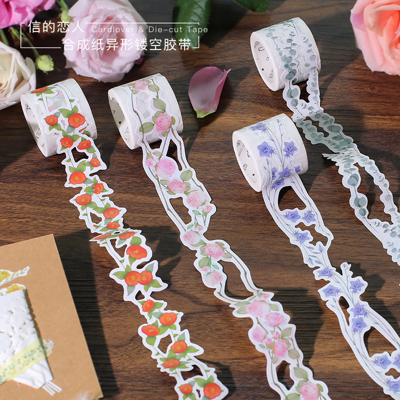 Flower Hollow Openwork Lace Washi Tape DIY Decoration Scrapbooking Planner Masking Tape Adhesive Tape Kawaii Stationery
