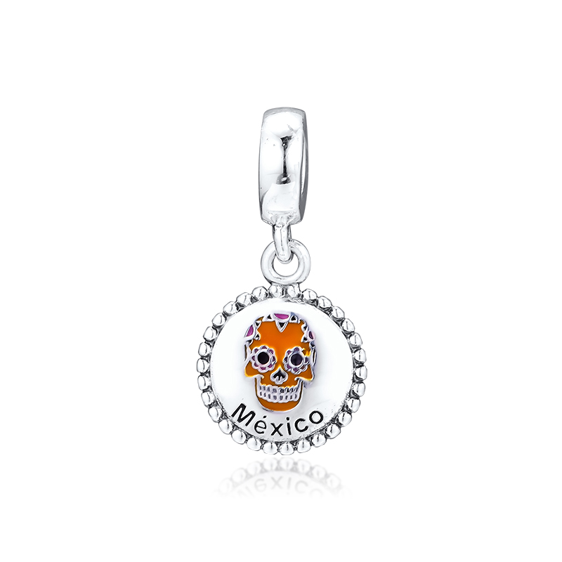Fits Pandora Bracelet Skull Mexico Day of the Dead Festival Charms Bead 925  Sterling Silver Beads for Jewelry Making kralen