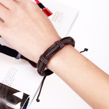 Creative woven leather bracelet adjustable Jewellery for women punk personalised cuff wristband rfor men creative Bangles