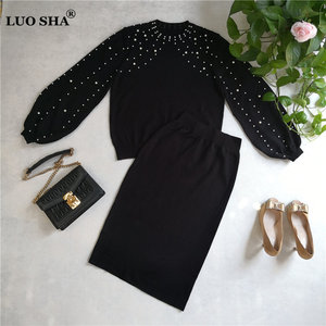 Image 2 - LUOSHA 2019 Autumn Winter New Women Two Piece Sweat Set Pearl Beading Knitted Pullover +Pencil Skirt Women Elegant 2 Piece Suits