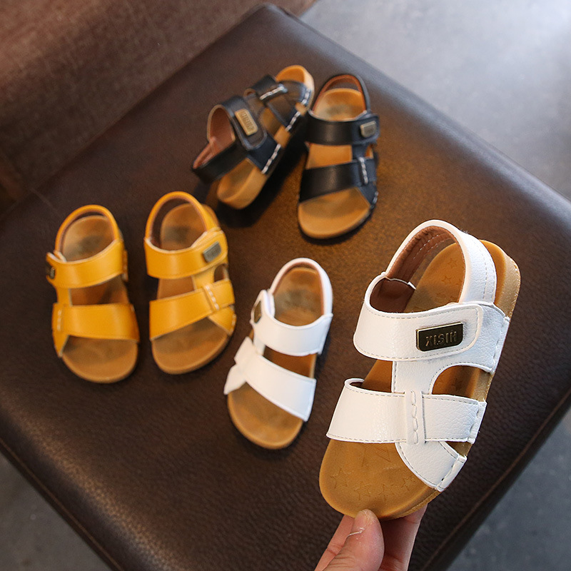 2020 Summer Sandals For Boy Kids Good Quality Handmade Sewing Soft Bottom Baby Boy Sandals Kids Leather Beach Shoes Shoes D02162
