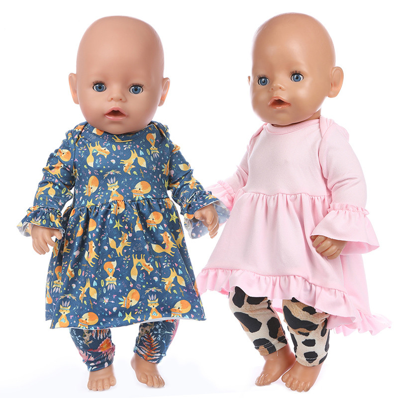 Born New Baby Fit 18 Inch 43cm Doll Clothes Pink Yellow European American Brand Hair Band 3-piece Suit For Baby Birthday Gift