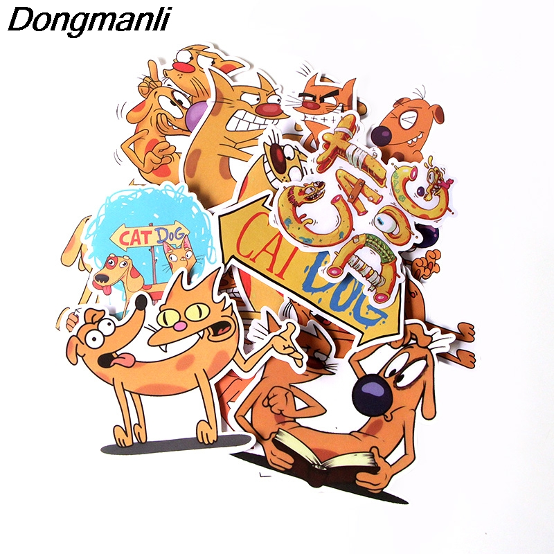 L3750 14 Pcs/set Catdog DIY Skateboard Graffiti Laptop Badge Motorcycle Luggage Bags Accessories
