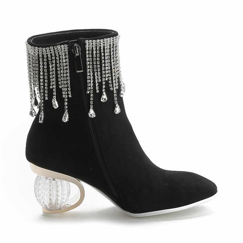 MORAZORA 2020 gorąca sprzedaż prawdziwej skóry proste botki na niskim obcasie szpiczasty nosek buty damskie czarne białe buty damskie zimowe