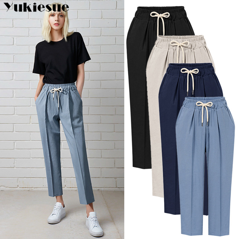 Casual High Waist Khaki Pants Women Summer Ladies Office Womens Trousers Pocket Solid Female Harem Pants Plus Size 5xl 6xl