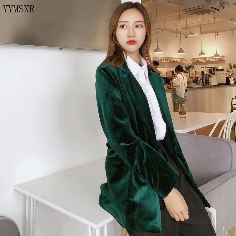Autumn and winter women's gold velvet blazer small suit feminine 2020 New Loose Ladies Jacket Coat Casual top Female