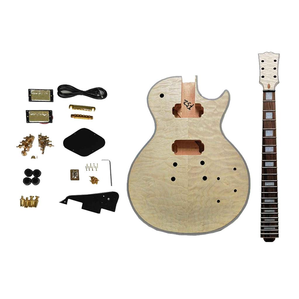Water Rippling LP Guitar Material Set Mahogany Neck Music Instrument Kit