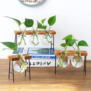Image 5 - Glass Bottle Vase Hydroponic Plant Transparent Vase Wooden Frame Coffee Shop Room Decor Table Desk Decoration Vase terrarium