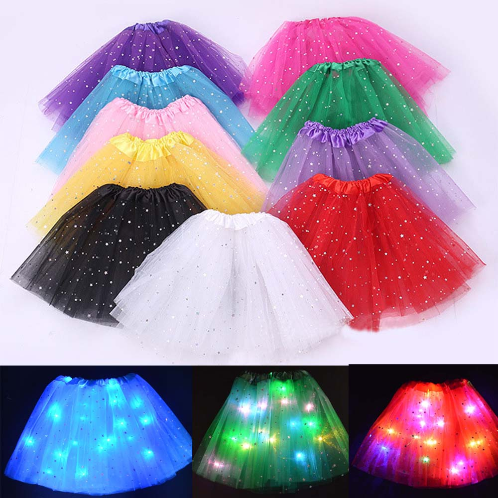 Children Kids Girl Star LED Tutu Light Skirt Princess Party Tutus Tulle Pettiskirt Kids Ballet Dance Birthday Wedding Carnival