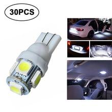 30 Uds T10 LED Bombilla de coche 12V 12V blanco 5050 5SMD cuña, 5W, 194, 168, 2825, 158, 192 de ancho indicador bombilla de luz LED accesorios del coche
