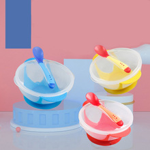 Tableware Auxiliary-Bowl Spoon Suction-Cups Child-Safe Baby with Temperature-Sensing