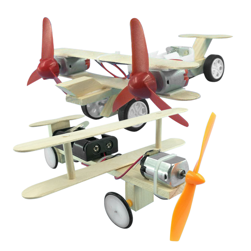 Kid Assembling Electric Toy DIY Electric Handmade Taxiing Airplane Model Blocks Toy Educational Experiment Toys