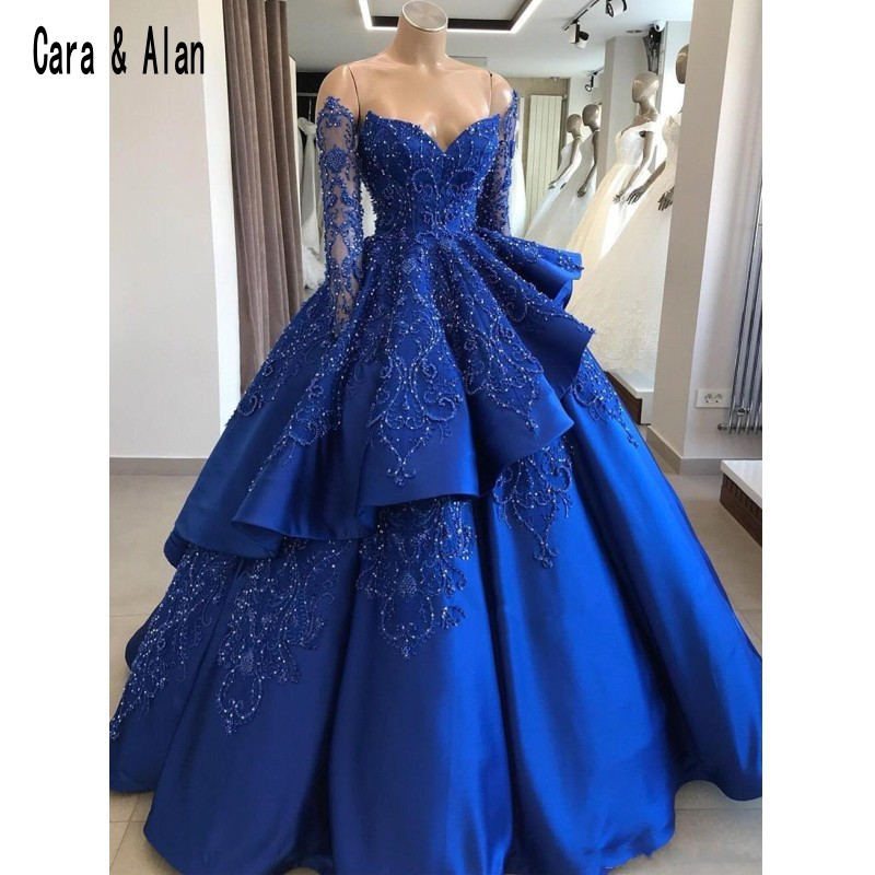 Modest Ball Gown Royal Blue Quinceanera Dresses Long Sleeve Beaded Layered Off The Shoulder Satin Sweep Train