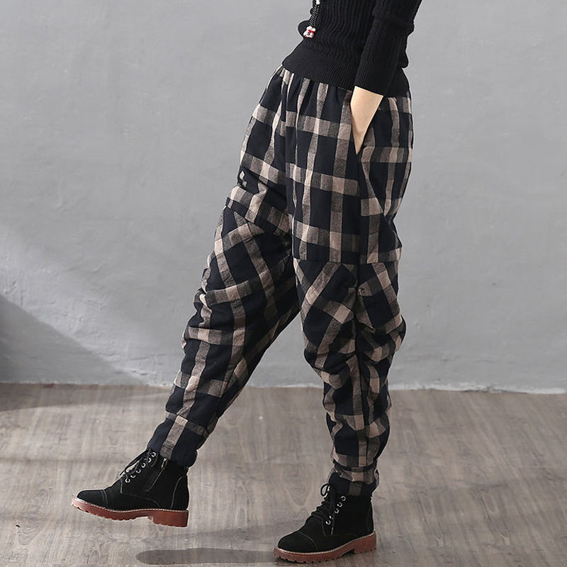 Winter Plaid Thickened Cotton Hemp Loose Cotton Baggy Pants Worn Outside Wrinkled Cotton Pants Vintage Harlem Cotton Pants Women