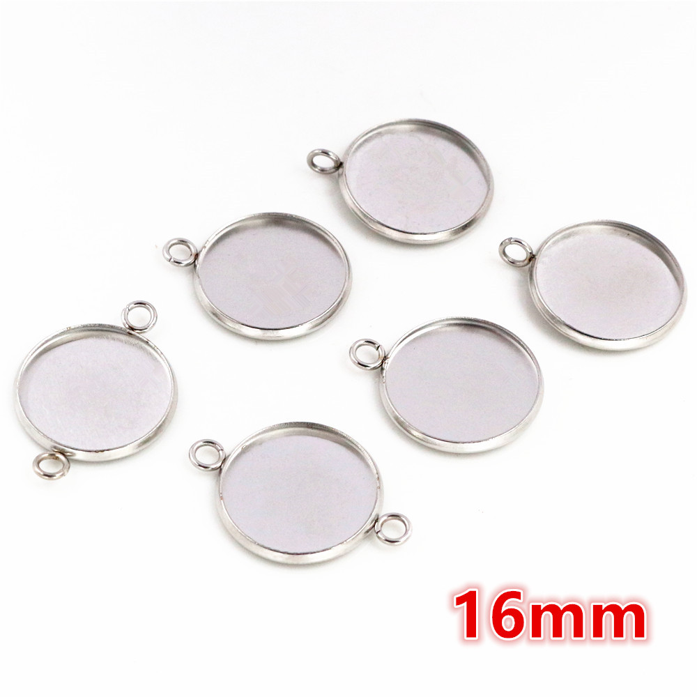 (Never Fade) 16mm 20pcs Stainless Steel 3 Style Cameo Settings Cabochon Base Charms Pendant High Quality