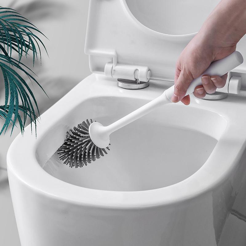 Toilet Brush /& Holder Bowl Set Cleaning Base Drain WC Bathroom Silicone Bristle