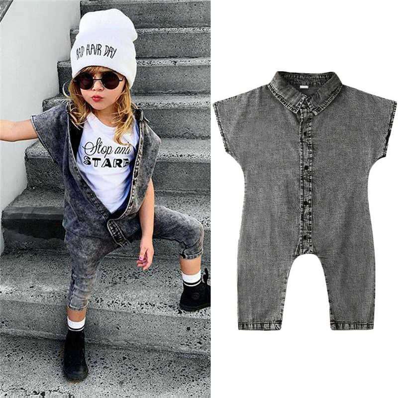 Fashion Kids Baby Girls Overalls Sleeveless Denim Jumpsuit Toddler Unisex Jumpsuit Pants Trousers Girls Summer Clothes 1-6 Years