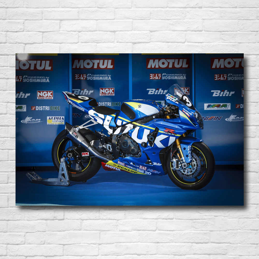 Canvas PICTURE SUZUKI GSX R 750 Motorcycle Wall Picture Poster XXL ABSTRACT ART PRINT