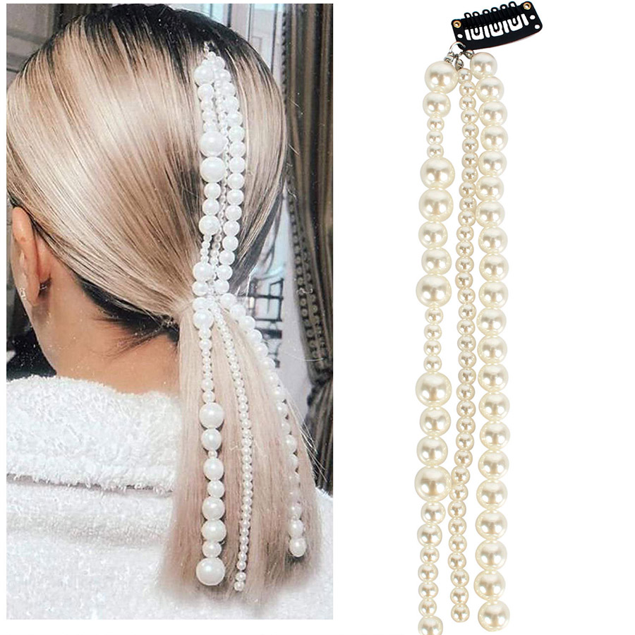 Haimeikang Chain Pearl Hairpin Tassels Handmade Hairpin   Headwear   Personalized Beaded Hair Accessories Female Elegant Headdress