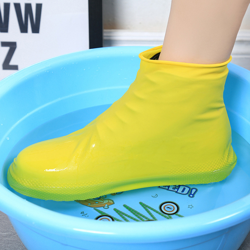 1 Pair Reusable Latex Waterproof Rain Ankle Shoes Covers Slip-resistant Rubber Rain Boot Overshoes Cleaning Cover
