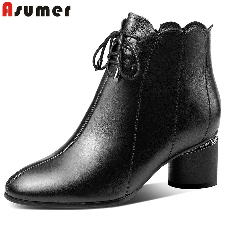 ASUMER Women Boots High-Heels Thick Big-Size Fashion Full-Genuine-Leather New Lace-Up