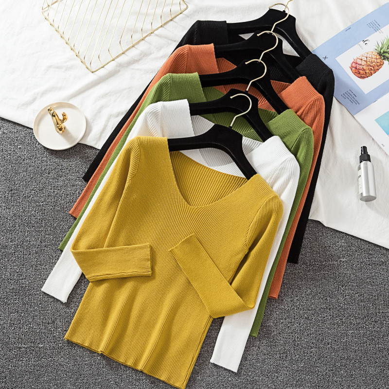 Casual Cashmere Jumper Sweater Women Long Sleeve Slim Fit V-neck Pure Sweaters Autumn Winter Solid Ladies Knitted Pullover Tops