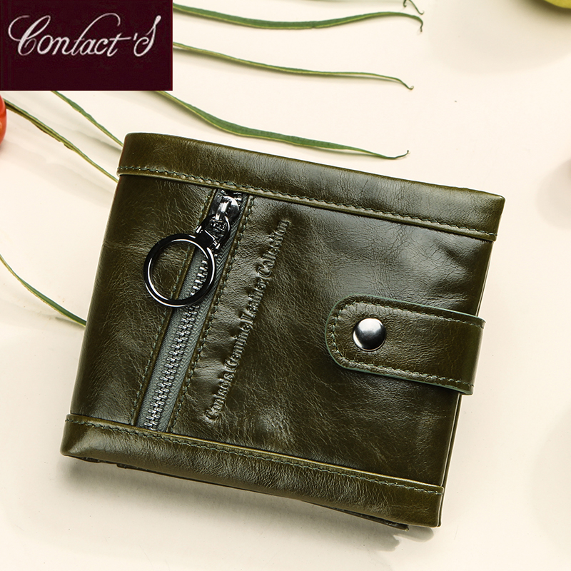Contact's Green Women Genuine Leather Wallets Small Female Coin Purse Ladies Gift Anti Rfid Wallets Card Holder Portfel Carteira