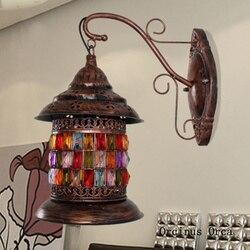 Azji południowo wschodniej retro witraże kinkiet salon korytarz Cafe Hotel korytarz śródziemnomorski rękodzieło żelaza kinkiet w Wewnętrzne kinkiety LED od Lampy i oświetlenie na