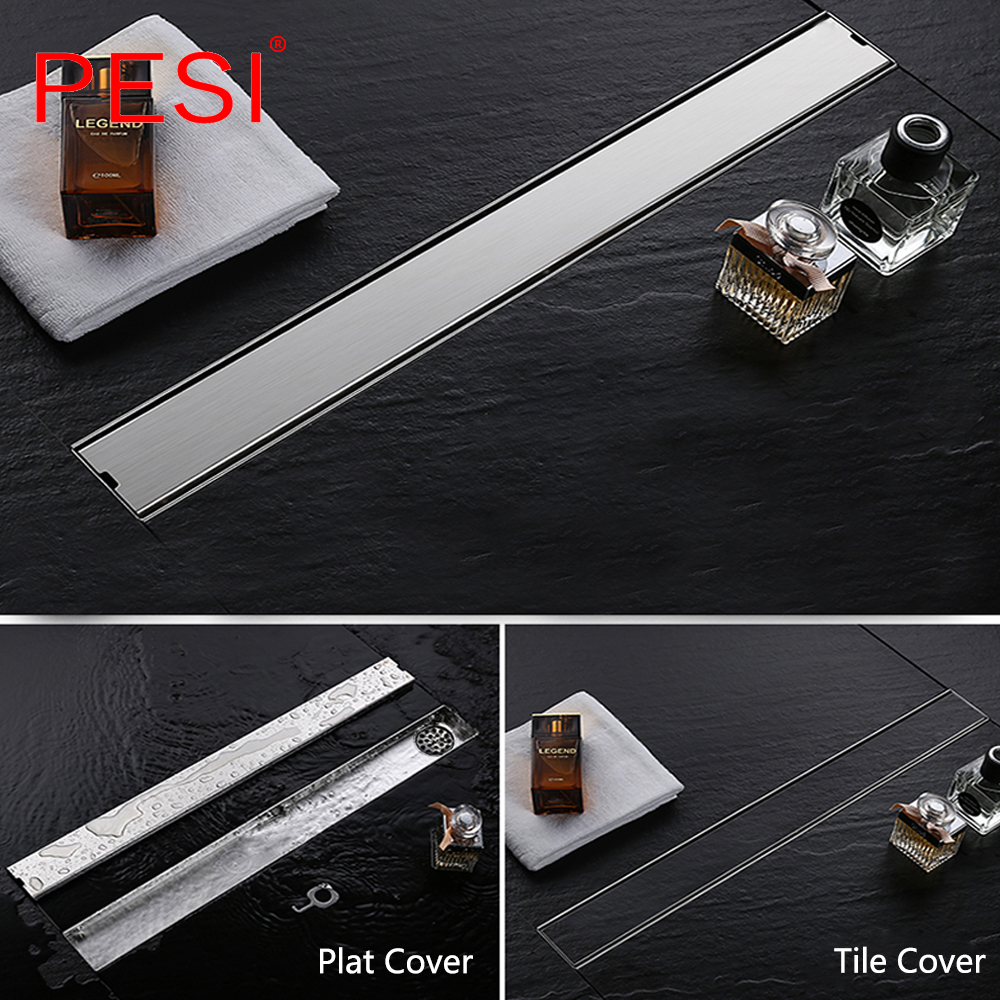 304 Stainless Steel 60cm Tile Insert Rectangular Linear Anti-Odor Floor Drain Bathroom Hardware Invisible Shower Drain.