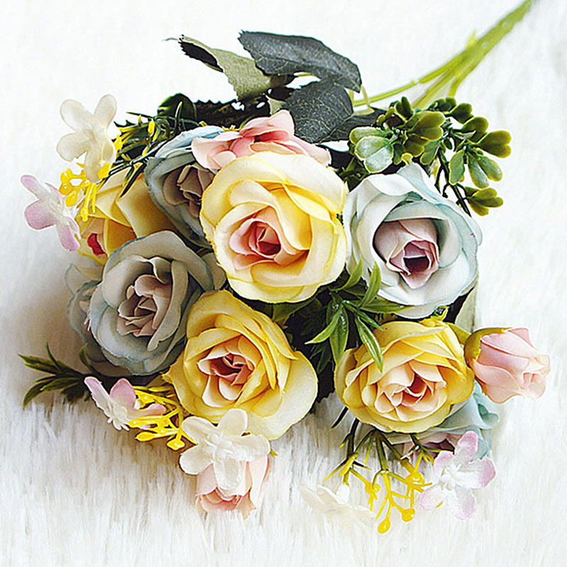 13 Cabezas Flores Artificiales De Seda Falsa ramo nupcial boda fiesta casa decoración