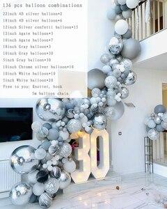 Image 2 - 136 個大理石瑪瑙風船花輪キットブラックホワイトグレーバルーンアーチ紙吹雪バルーン誕生日結婚式ベビーシャワーパーティーの装飾