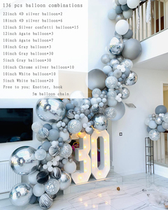 Image 2 - 136pcs Marble Agate Balloons Garland Kit Black White Grey Balloon Arch Confetti Ballon Birthday Wedding Baby Shower Party Decor