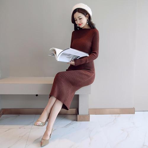 Женское платье-свитер, корейская мода, женские вязаные платья, зимний женский кардиган, облегающее платье, элегантные женские свитера, платья, Vestido платье женское вязаное платье платье женское трикотажное платье - Цвет: Brown