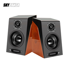 USB Wired Wood Grain Speakers Bass Stereo Subwoofer Sound Box AUX Input Computer Speakers For Desktop PC Phones