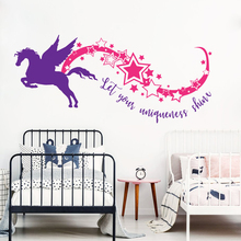 Crartoon Horse Fly With Inspire Quotes Bedroom Decor For Boys Girls Unicorn Let Your Uniqueness Shine Star Rainbow Stickers W638