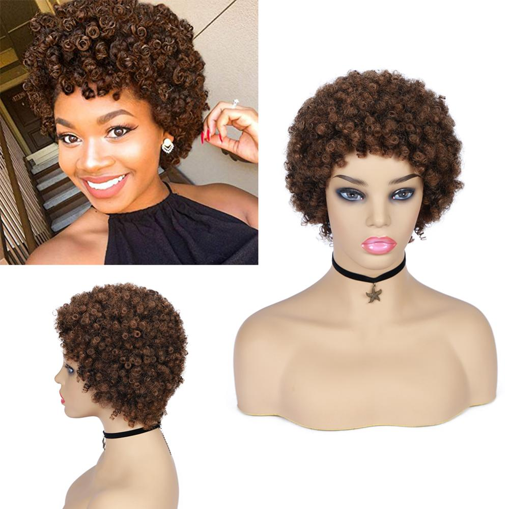 Wignee Short Human Hair Wig With Free Bangs For Black Women Remy Hair Jerry Curl Short Pixie Cut Glueless Cheap Brown Human Wigs