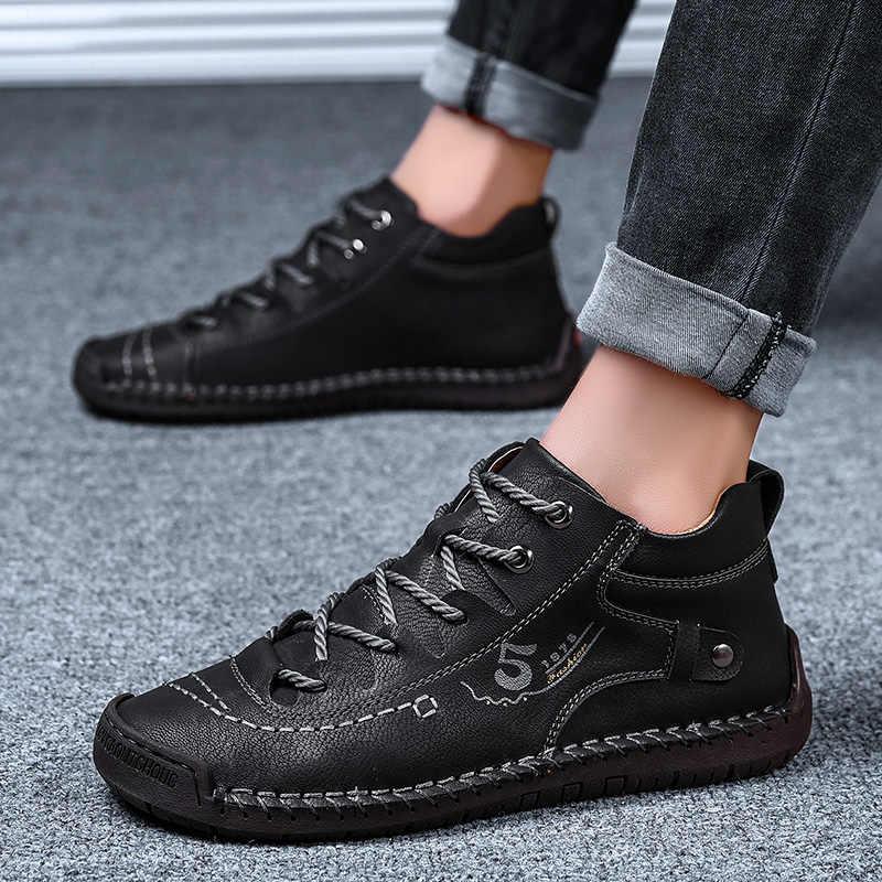 Kış Sonbahar Moda Ayakkabı Erkekler iş ayakkabısı Vintage El Yapımı rahat ayakkabılar Marka yüksek kaliteli dantel Up Trendi Ayakkabı