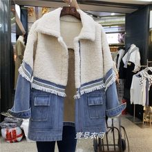 2019 Fall Winter Splice Lambs Wool Fur Denim Cotton Coats Womens Plush Velvet Warm Parka Jackets Ladies Loose Thick Jean Coats(China)