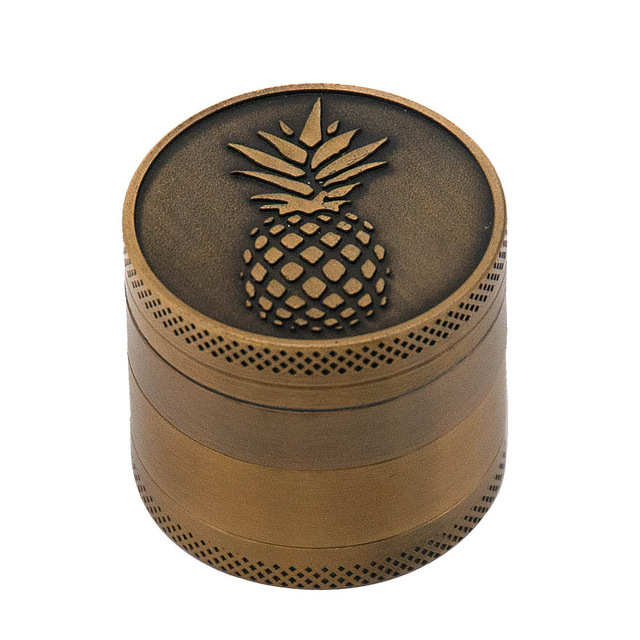 Bronze color Zinc Alloy Herb Grinder 40MM 4 layer Metal Mini Tobacco Grinders with Pollen Catcher Smoke Pipe Accessories 12