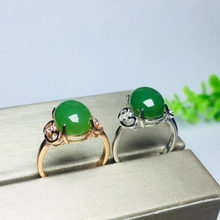 Beautiful 925 Sterling Silver Green HeTian Jade Inlay Jasper Line Hollow Design Ring Adjust Women's Charm Gift Jewelry(China)