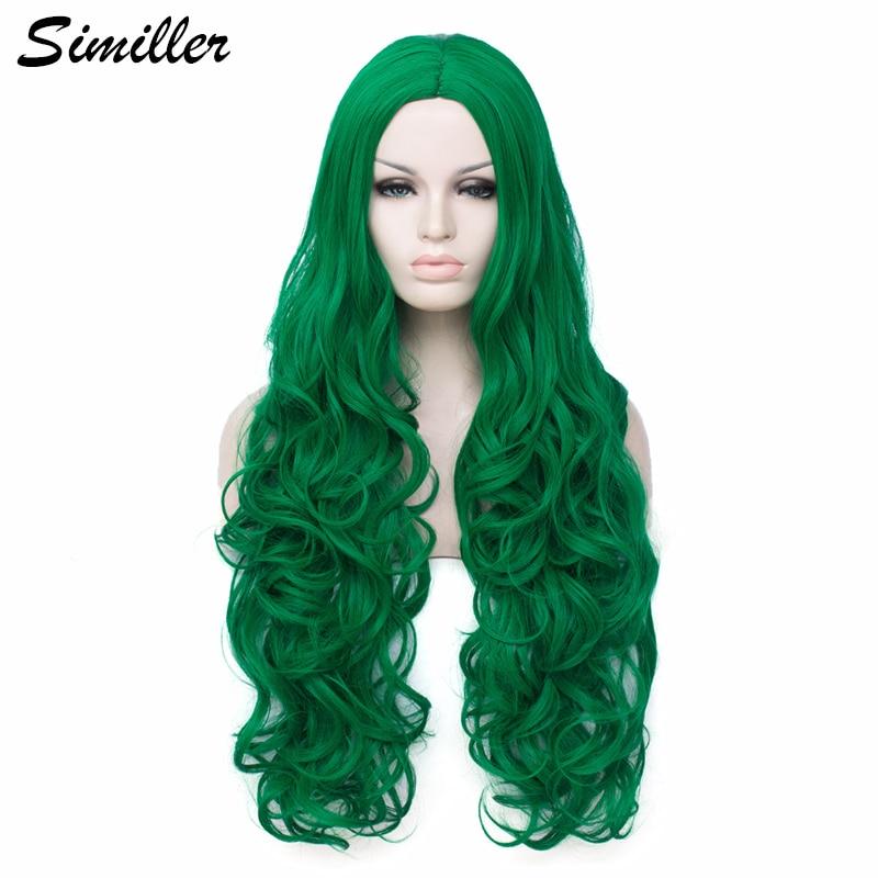 Parrucche sintetiche lunghe Similler per donna Cosplay fibra ad alta temperatura per capelli ricci verde scuro con cappuccio parrucca