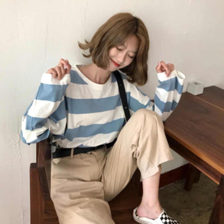 פסים נשים חולצה Harajuku בגדים קוריאני סגנון Streetwear אסתטי ארוך שרוול סתיו O צוואר למעלה t חולצה