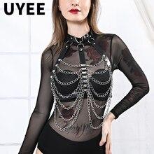 UYEE mujeres cuerpo Sexy Lencería Bondage correa ajustable Goth busto media liga de cuero erótico cintura ligas sexuales arnés arnes para mujer ligas medias liguero cinturones para mujer bondage mujer