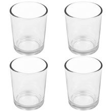 4pcs Glass Candle Cup Transparent Candle Adornment Candleholder Scene Decor