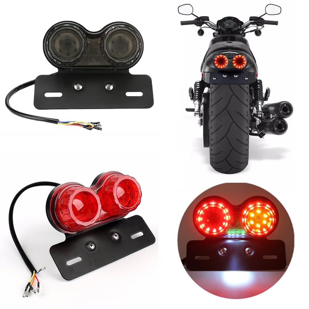 Universal Motorcycle LED Taillight 12V Dual Motorbike Rear Stop Brake Turn Signal Indicators Lamp License Plate Lights 1Pc